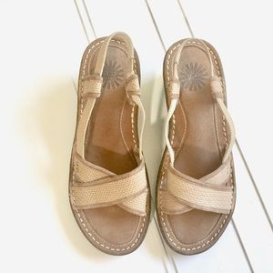 UGG Mayley Tan Wedge Sandals Size 8